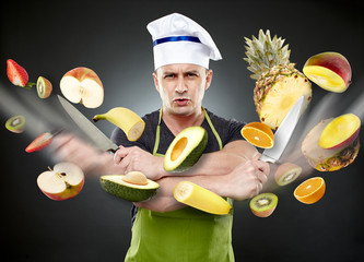 Fast cook slicing vegetables in mid-air