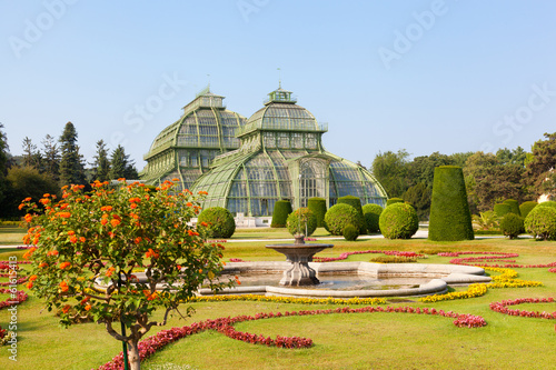 front side of palm house in Schonbrunn Garden in Vienna, Austria