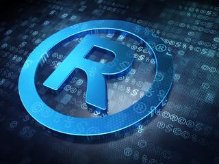 Law concept: Blue Registered on digital background