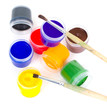 Gouache and brushes isolated on white background