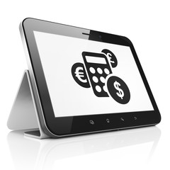Business concept: Calculator on tablet pc computer