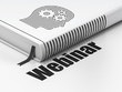 Education concept: book Head With Gears, Webinar on white