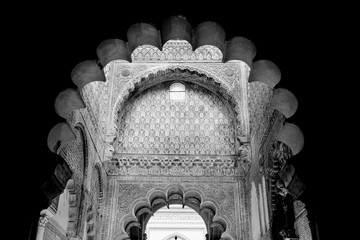Mosque arch, Interior detail with beautiful decoration. Black an