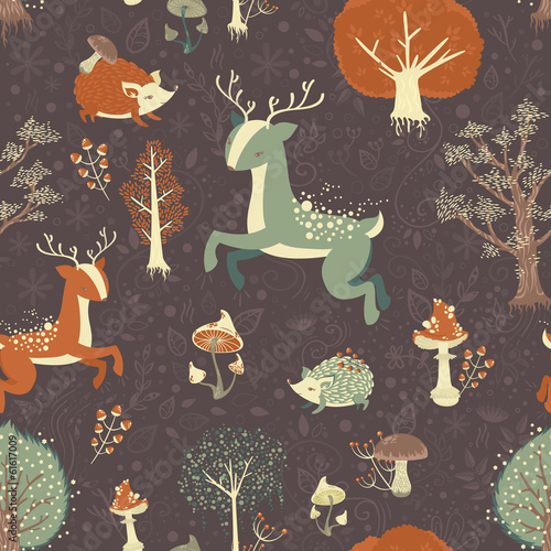Magic forest seamless pattern
