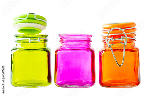 Row of colorful glass jars