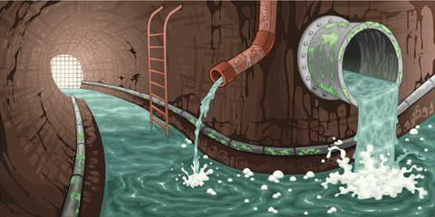 Inside the sewer.
