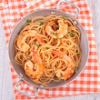 casserole with spaghetti and shrimps