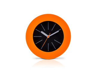 Modern orange clock isolated on white background