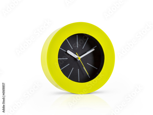Modern green clock isolated on white background
