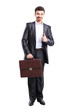 Business man with thumbs up gesture and briefcase standing