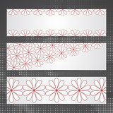 Set of banners with laconic floral ornament