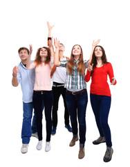 Group of happy joyful friends isolated on white background
