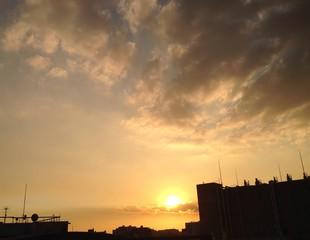 屋上からの夕焼け空