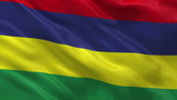 Flag of Mauritius waving in the wind - seamless loop
