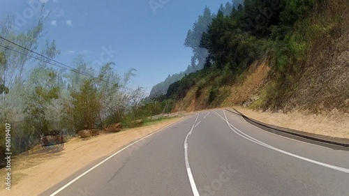 Scenic route through the windshield. FPV, Timelapse, Sri Lanka.