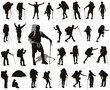 People with backpack detailed vector silhouettes set. EPS 8 - 61619832