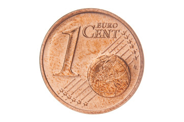 One euro cent closeup