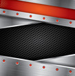 Metal background with steel frame and red elements