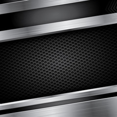 Metal background with steel frame and carbon pattern background