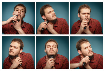 Collage of portraits: Man who shaves his beard with a trimmer