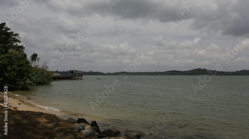 Singapore East Coast Beach with Moving Clouds Time Lapse