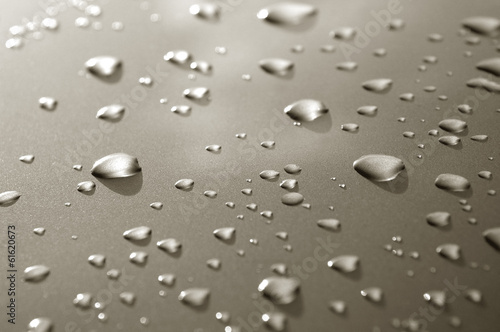 raindrops on a luxury metallic vehicle panel
