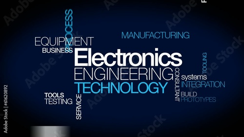 Electronics engineering technology EET word tag cloud animation