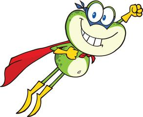 Frog Superhero Cartoon Character Flying