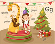 Alphabet.G letter.giraffe,guit ar,girl,grape,gift.