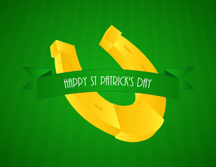 special green St.Patrick's day background with a yellow shod