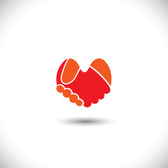 love vector - heart shaped handshake icon of boy & girl.