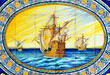 Galeones de la Carrera de Indias, azulejo de Sevilla, España