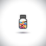 medical concept vector icon - colorful tablets signs in a bottle