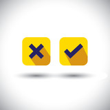 vector icon - flat design check mark or choice icons.