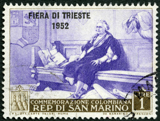 SAN MARINO - 1952: shows Christopher Columbus