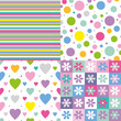 stripes, circles, hearts and flowers pattern collection