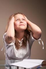 Confused teen schoolgirl