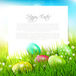 Easter eggs in the grass - Easter illustration with copyspace