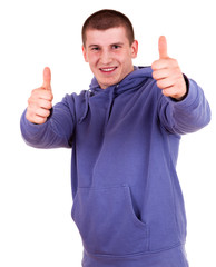 successlul young male with thumb up, white background