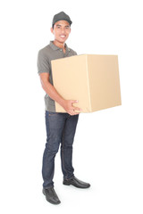 Smiling young delivery man holding a cardbox