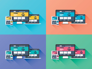 Web designing development vector computer icons in flat style