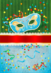 Carnival background with mask and copyspace