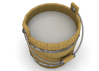 Wooden Bucket with Milk