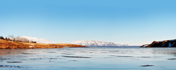 Icelandic winter landscape panorama 1x2.5 Ratio