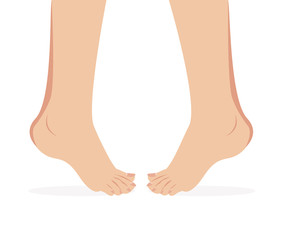 vector of female foot standing  human foot
