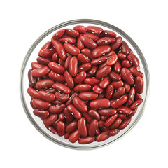 Bowl of red beans isolated on white