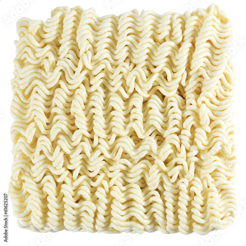 A block of dried Instant noodles isolated on a white background