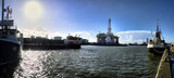 Panorama of Esbjerg oil harbor with rig, Denmark