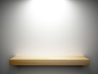 wood shelf on white wall decorated