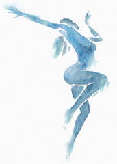 Naked Modern Dancer Blue Watercolor on White